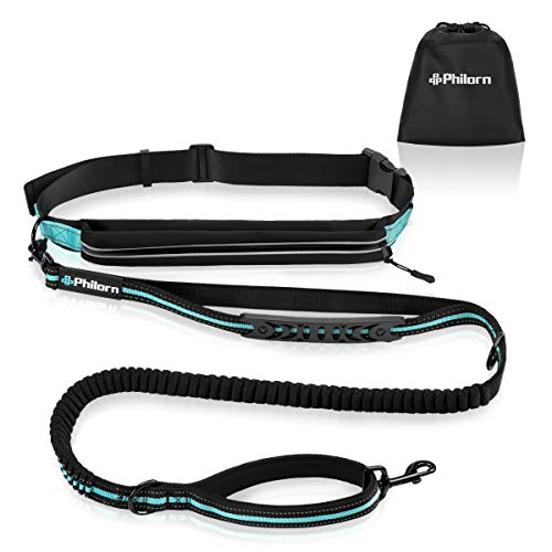 "PHILORN Hands Free Dog Leash for Running, Jogging | Reflective Stitching, Adjustable Waist Belt(24""-47""), Phone Pouch, Shock Absorbing Dual Handle Bungee(47""-67"") for Up to 150lbs Large Dog"