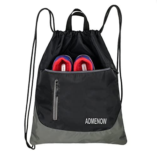 Gym Drawstring Backpack String Bag Men Women Workout Dance Sack Pack Sackpack (Black)