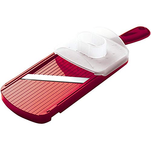 Kyocera Advanced Ceramic Adjustable Mandoline Vegetable Slicer w/ Handguard-Red