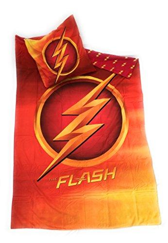 Parure di letto–Copripiumino reversibile 140x 200cm + federa 63x 63cm microfibra–Oeko-Tex–Flash DC Comics–Justice League–League dei supereroi