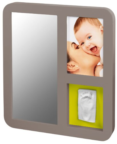 Baby Art Cadre Photo Modern Mirror Print Frame - Taupe / Violet-Lime
