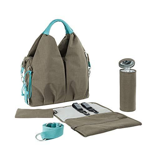 LÄSSIG Baby Wickeltasche nachhaltig inkl. Wickelzubehör nachhaltig produziert/Green Label Neckline Bag, braun/grau