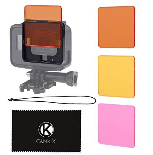 CamKix Juego de Filtro de Lentes de Buceo Compatible con GoPro Hero 6/5 Camara - Mejora Colores para Varios Videos submarinos y Condiciones de Fotografia - No para Uso con Carcasa Impermeable