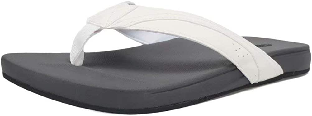 Men Flip Flop, Men Thong Sandals, Flat Slide Sandals for Men with Soft Cushion Footbed Indoor Outdoor Beach Slippers-U221SMTL01-white-46
