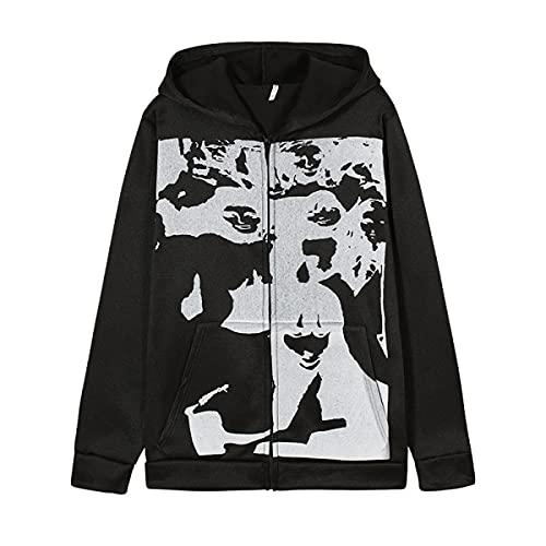 Tekaopuer Y2K - Sudadera con capucha para mujer, diseño vintage y gráfico con cremallera, Z5-negro, XXL