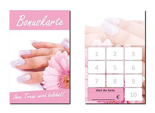 100 Stück Bonuskarten Nagelstudio Rosa Nägel Wellness Kosmetik (BOK-421) mit 10 Stempelfeldern Treuekarten Massage Beauty