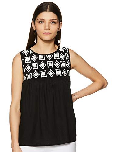 Styleville.in Women's Plain Regular Fit Top (STSF401625-Black-M)