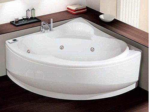Bañera de hidromasaje Novellini, una esquina con desinfección y grifería.