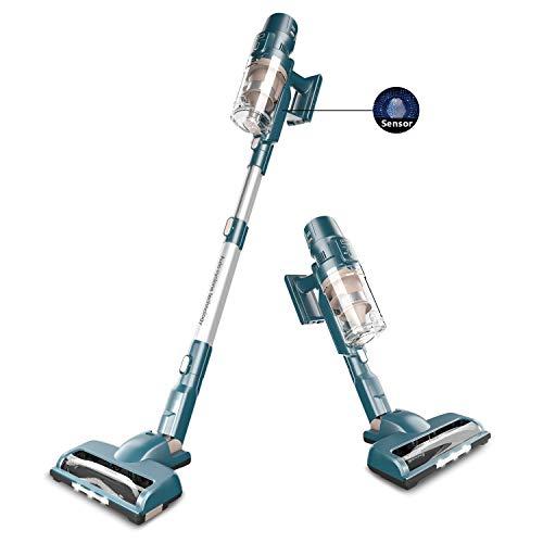 ORFELD Smarter Akku staubsauger, 22000 Pa Stabstaubsauger, staubsauger beutellos mit Smarte Saugfunktion, bis zu 50 Min Laufzeit, für Teppiche und Harte Böden