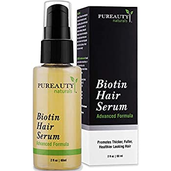 Biotin Hair Growth Serum Advanced Topical Formula To Help Grow Healthy Strong Hair Suitable for Men and Women of All Hair Types Hair Loss Support By Pureauty Naturals