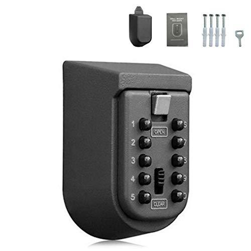 Montado en la pared Caja de bloqueo de almacenamiento de llave de contraseña Caja de seguridad Titular de la llave (negro)