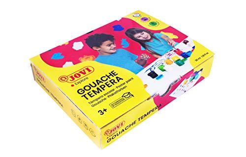 Jovi 152818 - Caja de 12 botes de tempera escolar de 35 ml, gel licuado en colores vivos, 1 unidad, Multicolor