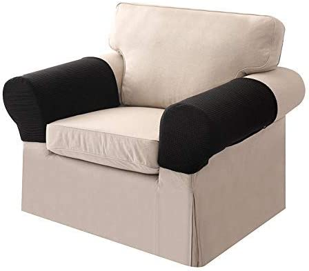 Ezoon Stretch Sofa Armrest Cover Arm Cap Leather Armchair Arm Protector Chaise Square Lounge Loveseat Slipcover Wide Cat Kid Garden Furniture Cover Anti-slip Beige