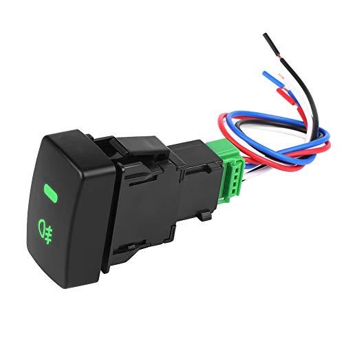 Interruptor de Luz Antiniebla, ANGGREK Reemplazo de Interruptor de Luz Antiniebla con Botón Pulsador de Coche de Plástico Negro de 5 Pines para CRV