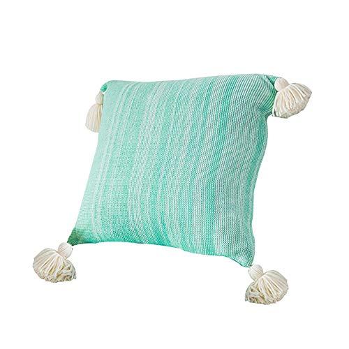 Ancoree Verde Algodón Funda de Almohada con la Franja de Punto Super Suave-Fundas Decorativas para Almohada para Sofá Cama-Decorativo Funda de Cojín,45x45CM (Mint Green)