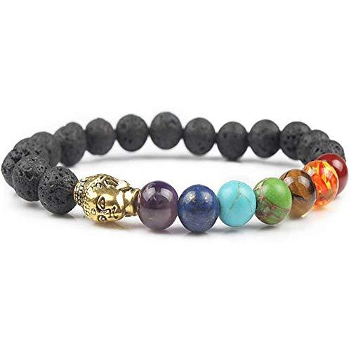 crintiff - 7 Chakra Reiki Bracelet for Meditation with Mala Buddhist - Chakra Balancing Bracelet for Stress Relief and Yoga. Elastic Reiki Bracelet for Women and Men, 8mm Beads