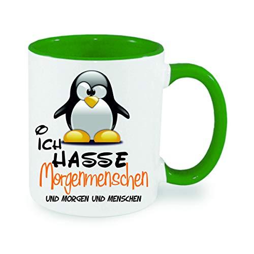 Crealuxe Ich Hasse Morgenmenschen und Morgen und Menschen - Kaffeetasse, Bedruckte Tasse mit Sprüchen oder Bildern, Bürotasse,