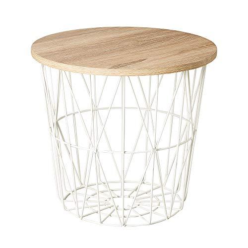 ヴィンテージ調 ワイヤーサイドテーブル サイドテーブル ワイヤーバスケット 収納 テーブル コーヒーテーブル かご バスケット シンプル おしゃれ (ホワイト)