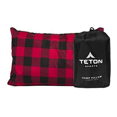 Teton Sports Camp Pillow Perfect for Anytime You Travel; Camping, Backpacking, Airplanes, and Road Trips; Comfortable Pillow for Neck and Lumbar Support; You Can Take It Anywhere; Washable; Black