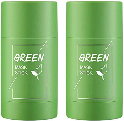 2 Stück Grüner Tee Purifying Clay Stick Mask - Green Mask Stick Ölkontrolle Gesichtsmaske, Anti-Akne-Maske Fine Solid Mask, Mitesser Akne Entferner Cleansing Gesichtsmaske Poren schrumpfen