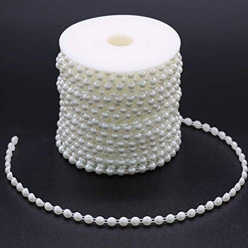 Hioph 6mm Half Pearl Garland 27yards Artificial Pearl Bead Chain Trim Strands Roll, Ideal for DIY Crafts, Wedding, Bouquet and Party Decoration