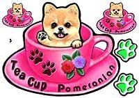 犬 ステッカー シール/ポメラニアン3/ティーカップ模様/雑貨/グッズ