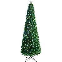 WeRChristmas - Árbol de Navidad de Fibra óptica con Estrellas LED, Verde, 7 ft/2.1m