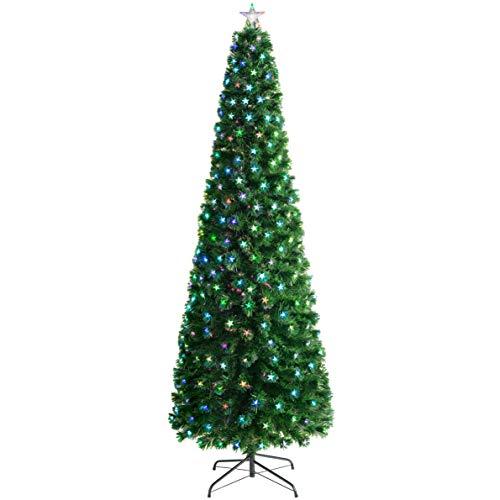 WeRChristmas - Albero di Natale in Fibra Ottica con Stelle LED, Verde, 6 ft/1.8m