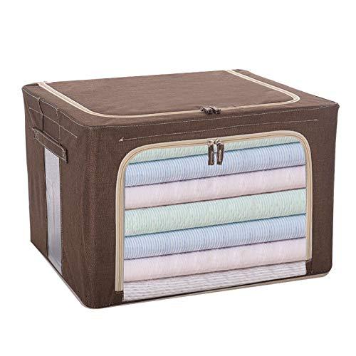 Aufbewahrungsbox, Stoff Stahlrahmen Baumwolle und Leinen transparentes Fenster,sehr gut geeignet für Bettwäsche,Decken