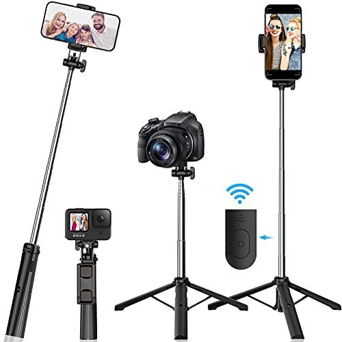 Trípode de selfie con Bluetooth, extensible 360° con mando a distancia inalámbrico, palo selfie 3 en 1, selfie stick Bluetooth extensible, trípode estable para Gopro / cámara