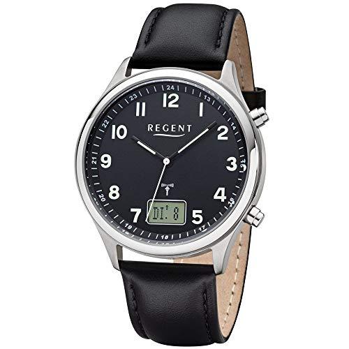 REGENT Herren-Armbanduhr Funkuhr Edelstahl analog-digital Quarz Lederband schwarz BA-447