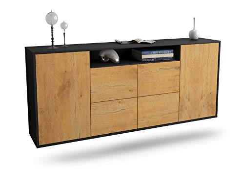 Dekati Sideboard Carrollton hängend (180x77x35cm) Korpus anthrazit matt | Front Holz-Design Eiche | Push-to-Open