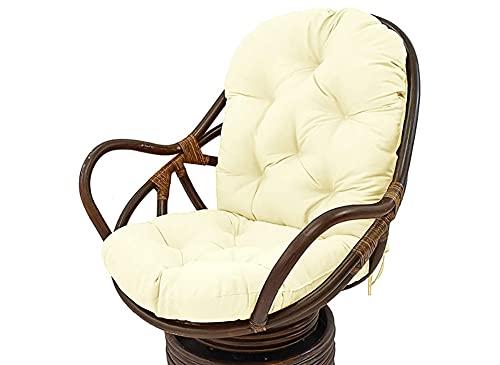 YUNQY Almohadillas de cojín para tumbona, cojín antideslizante para silla con lazos para el respaldo, cojines gruesos para tumbonas, cómodo cojín reclinable de algodón con memoria