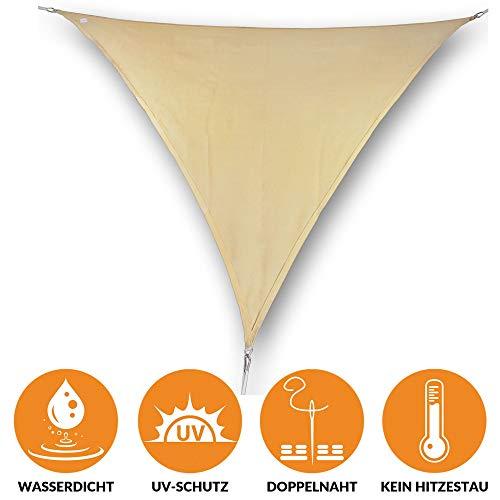 bonsport Sonnensegel Dreieck wasserdicht 4x5x5 m Sand - Sonnenschutz dreieckig mit UV-Schutz für Garten, Balkon Terrasse, Camping