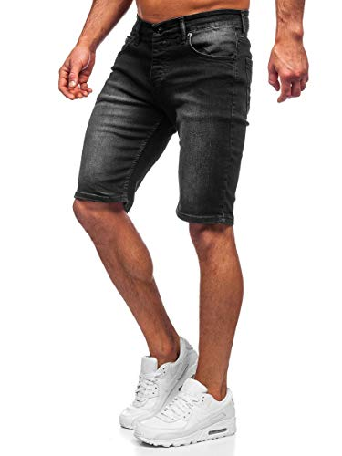 BOLF Hombre Pantalón Corto Vaquero Pantalones Vaqueros Denim Shorts Pantalón de Algodón Sombreado Estilo Diario RWX 3037 Negro S [7G7]
