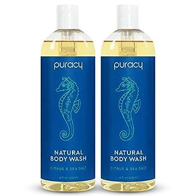 Puracy Body Wash, Citrus & Sea Salt, Natural Bath & Shower Gel for Men and Women, 16 Ounce (2-Pack)