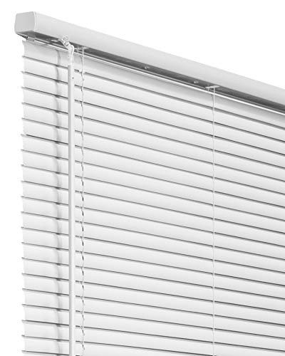CHICOLOGY Cordless 1-Inch Vinyl Mini Blinds, Horizontal Venetian Slat Light Filtering, Darkening Perfect for Kitchen/Bedroom/Living Room/Office and More, 35 W X 36 H, White (Commercial Grade)