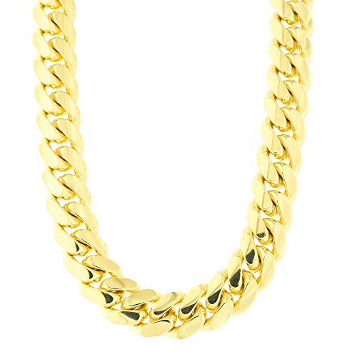 Men's 14k Yellow Gold 9.1 Millimeter Classic Miami Cuban Link Chain Necklace Box Clasp, 30 Inches