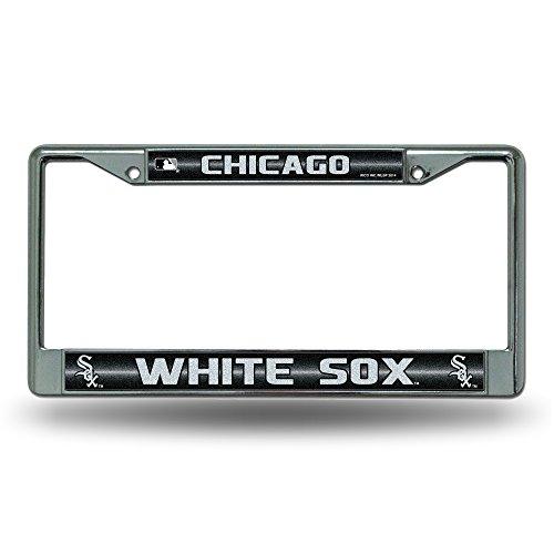 Rico FCGL4101 MLB Chicago White Sox Bling License Plate Frame, Chrome, 12 x 6-Inch