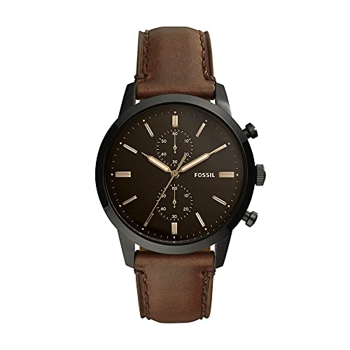 Fossil Men's Townsman Quartz Stainless Steel and Leather Chronograph...