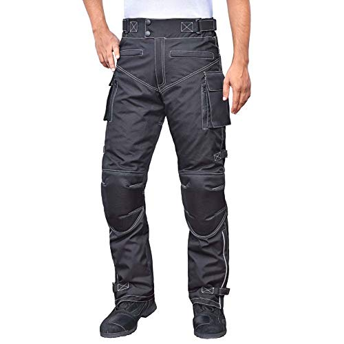 WICKED STOCK Mens WaterProof Motorcycle Riding Protective Pants CE Level-1 Armor Medium