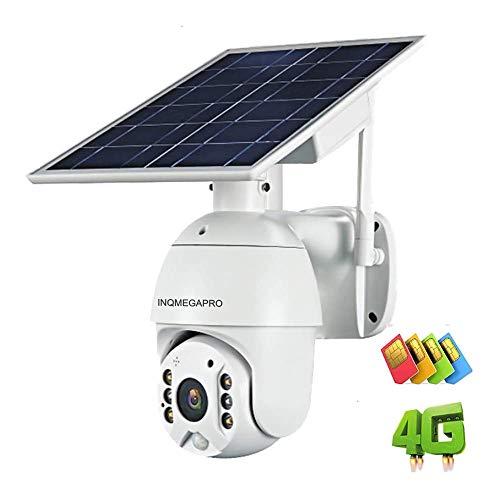 INQMEGAPRO 1080P HD PTZ Telecamera IP Esterno 3G / 4G-LTE Telecamera di Sicurezza con Batteria Ricaricabile Pannello Solare, PIR Rilevazione Movimento, Audio Bidirezionale (Non supporta WLAN e LAN)