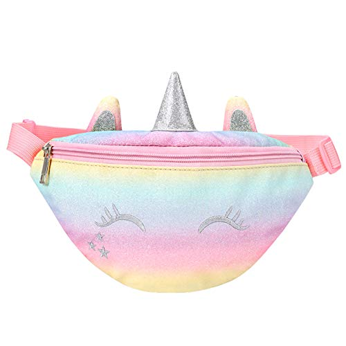 mibasies Unicorn Kids Fanny Pack Waist Bag for Girls Toddler Purse with Belt