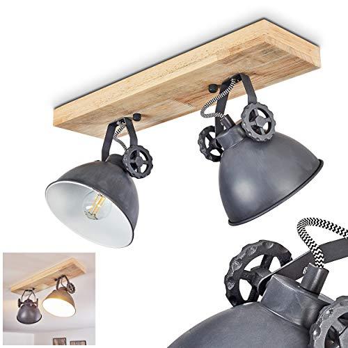 Deckenleuchte Svanfolk, Deckenlampe aus Metall/Holz in Blau-Grau/Natur, 2-flammig, mit verstellbaren Strahlern, 2 x E14-Fassung, max. 40 Watt, Retro/Vinatge Design