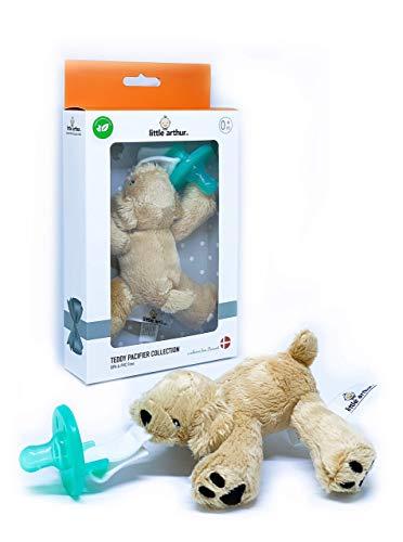 Little Arthur™ Plüsch Welpen Schnuller | Medizinisch Zertifiziertes Silikon | abnehmbarer Schnuller | 0-6 Monate | Neugeborenen Baby Geschenk Junge & Mädchen