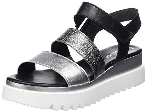 Gabor Shoes Damen Jollys Riemchensandalen, Grau (Silber/Stone/Schw.), 38.5 EU
