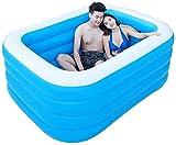 XKun Piscina inflable para el hogar, baño, piscina, piscina, rectangular, inflable (tamaño: 180 x 140 x 75 cm)
