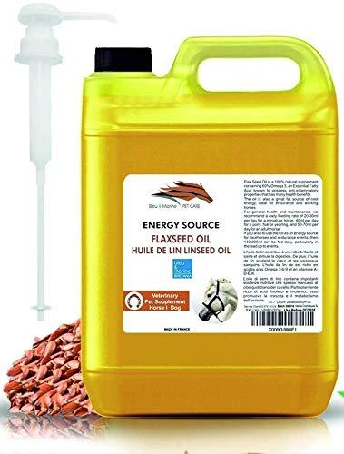 bleumarine Bretania Aceite de Linaza para Caballos y Mascotas 1000 ml 100% Natural Suplemento para la Salud y la Forma