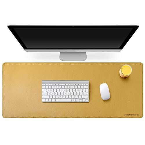 Mydours Cojín de Escritorio Multifuncional del Escritorio de PU Cuero Gaming y Oficina Desk Mat Gran Tamaño (95x40Cm) Impermeable para Oficina PC Ordenador Teclado - Amarillo