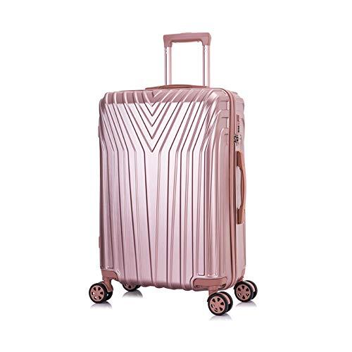 OM HOME Maleta De Viaje Mediana Equipaje De Viaje ABS+PC, Cerradura TSA Ligera Resistente (Rose Gold, 24 Inch 67CM)